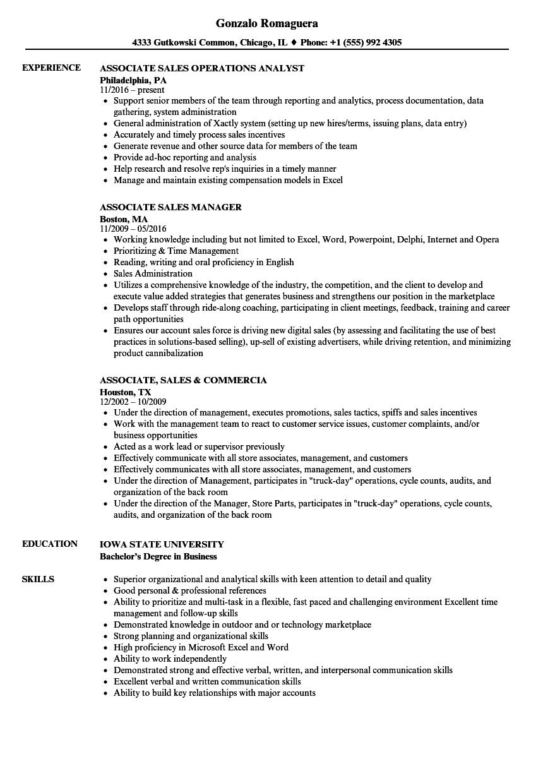 Associate Sales Resume Samples Velvet Jobs