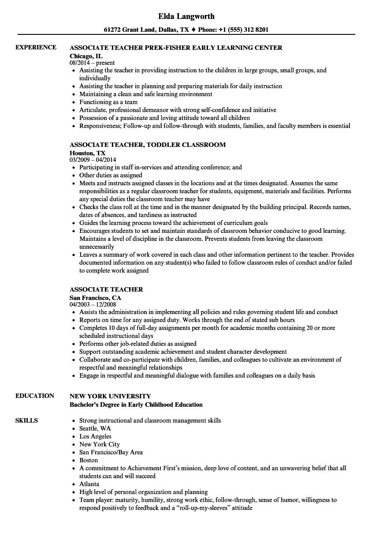 Download Associate Teacher Resume Sample As Image File