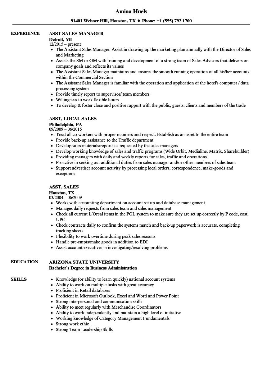 Download Asst, Sales Resume Sample As Image File