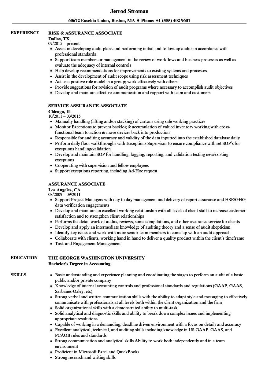 assurance associate example resume