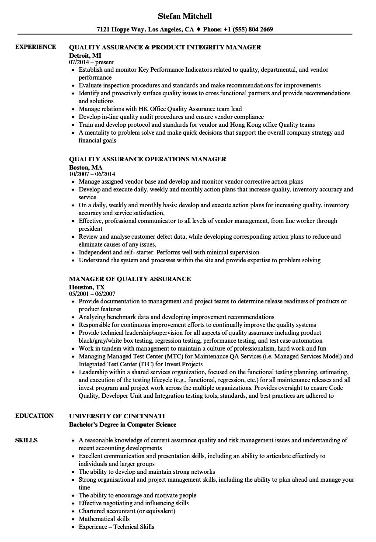 Assurance Quality Manager Resume Samples | Velvet Jobs