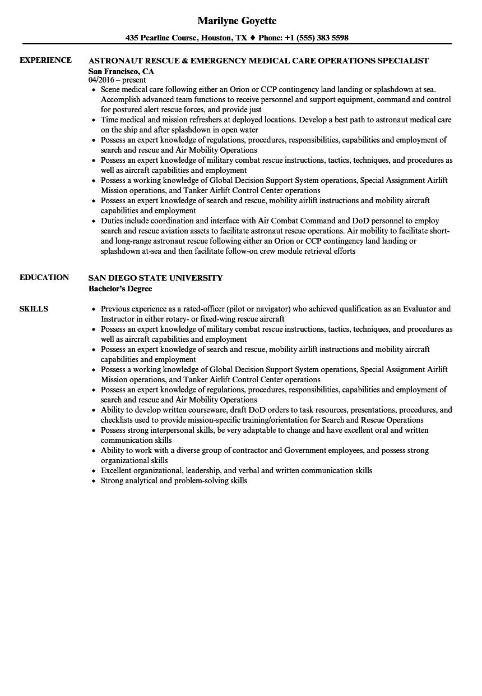 astronaut resume example