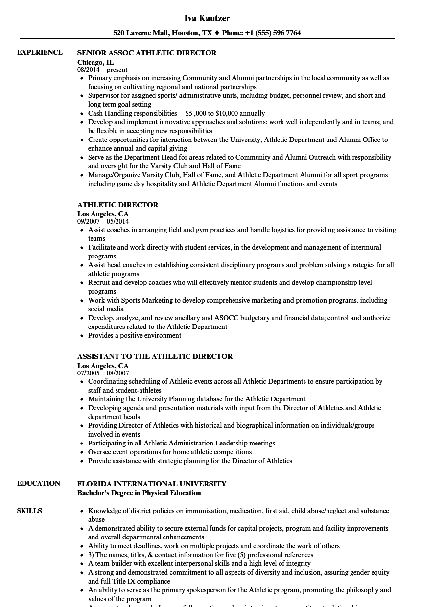 Athletic Director Resume Samples Velvet Jobs