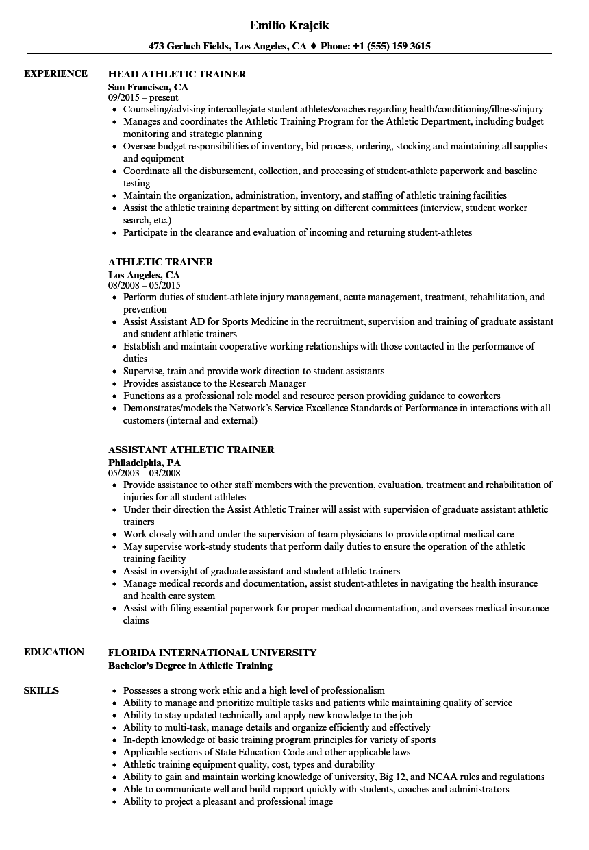 resume examples athletic training