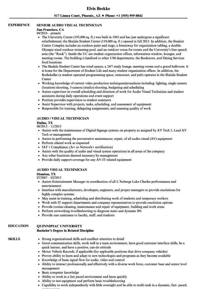 audio visual technician resume samples velvet jobs - Video Technician Resume Sample
