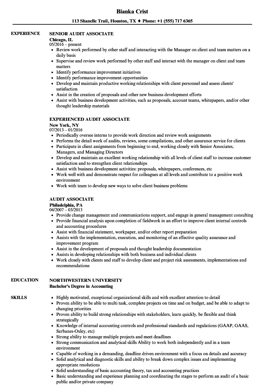 Audit Associate Resume Samples Velvet Jobs