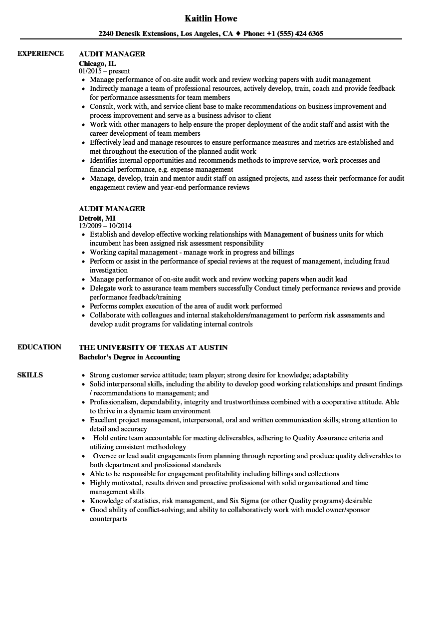 sample accounting manager resume
