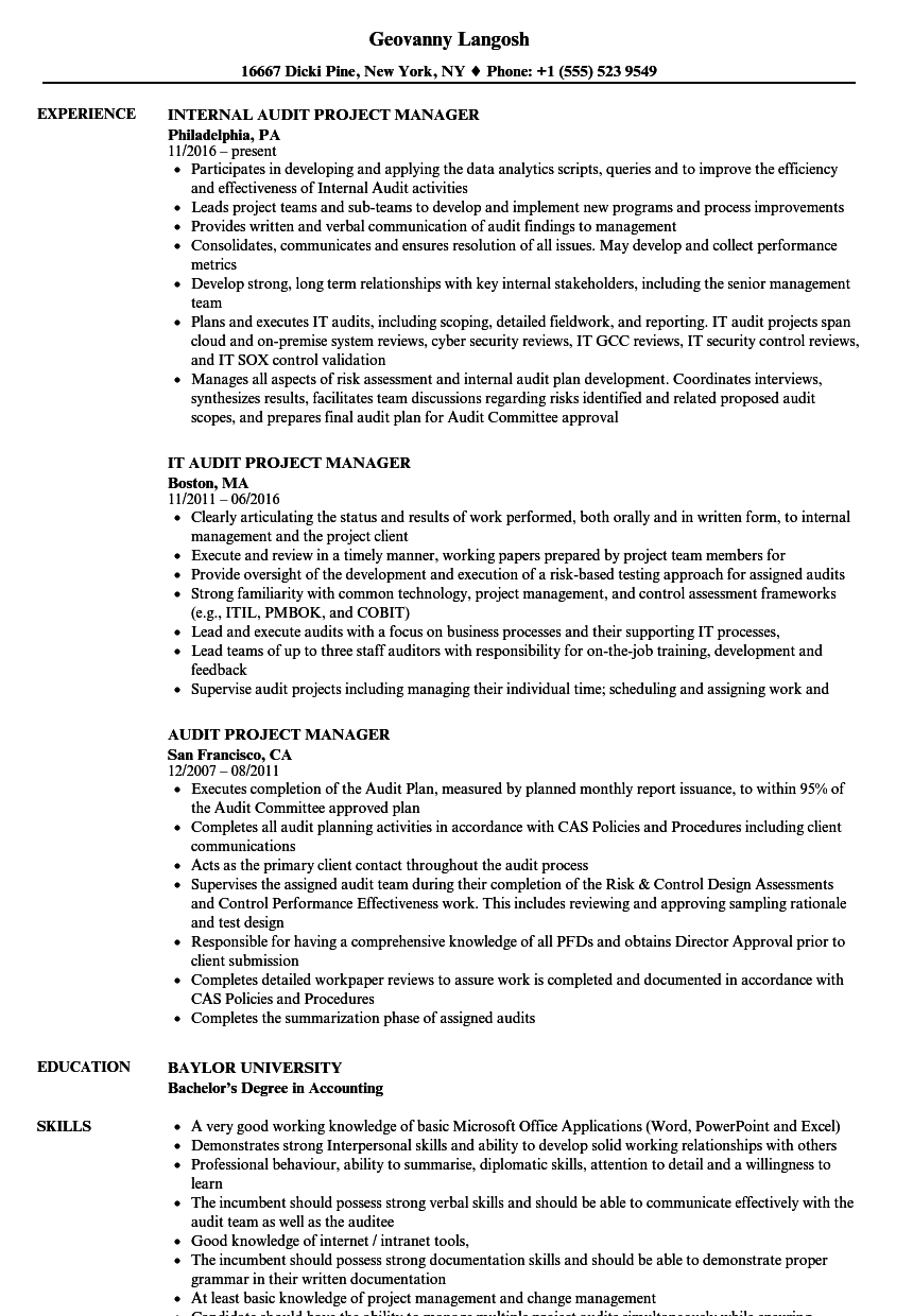 infrastructure project manager resume sample