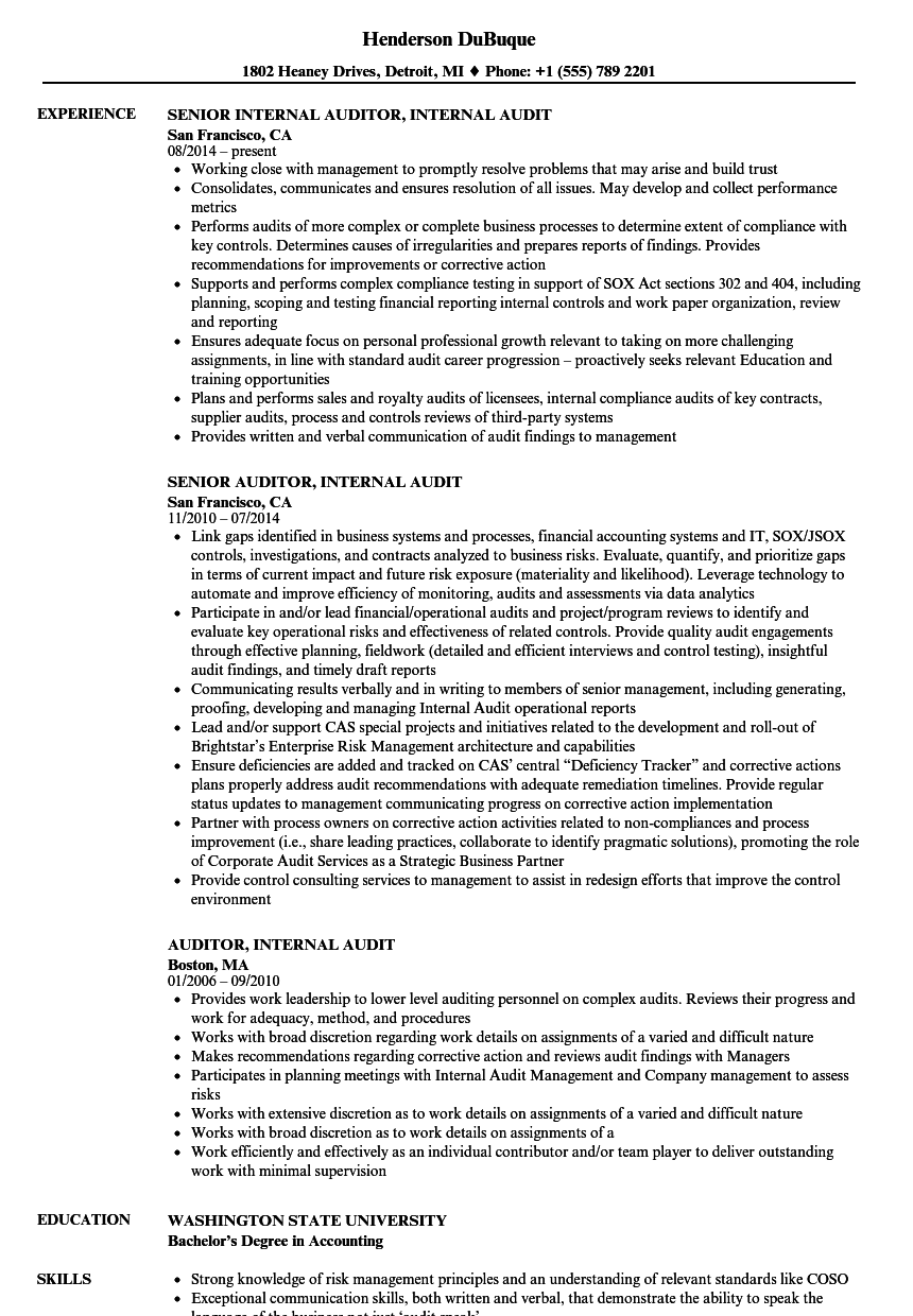Internal Resume Examples Examples of Resumes