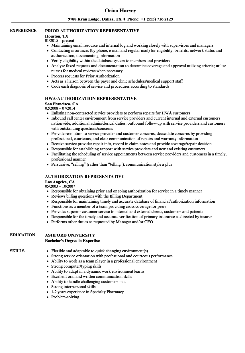 Authorization Representative Resume Samples Velvet Jobs