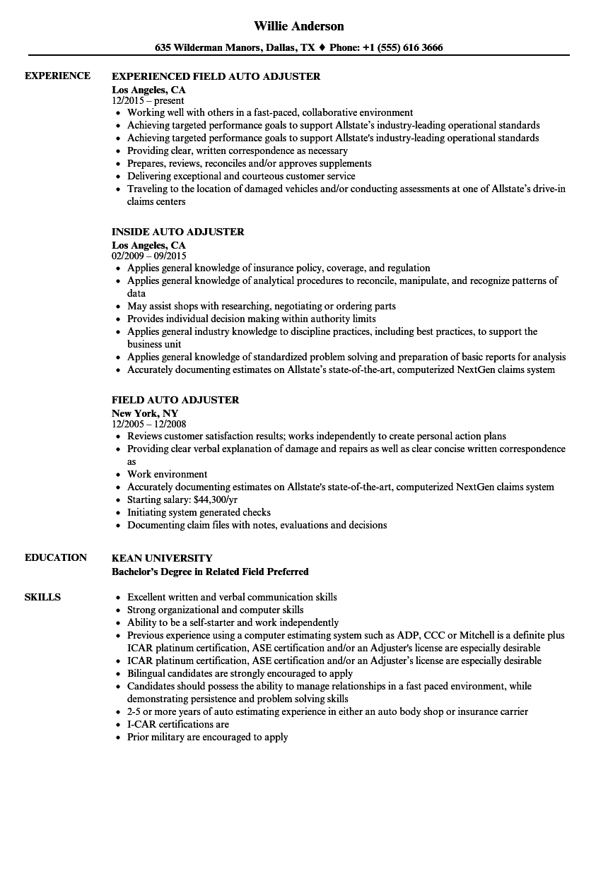 Auto Adjuster Resume Samples Velvet Jobs