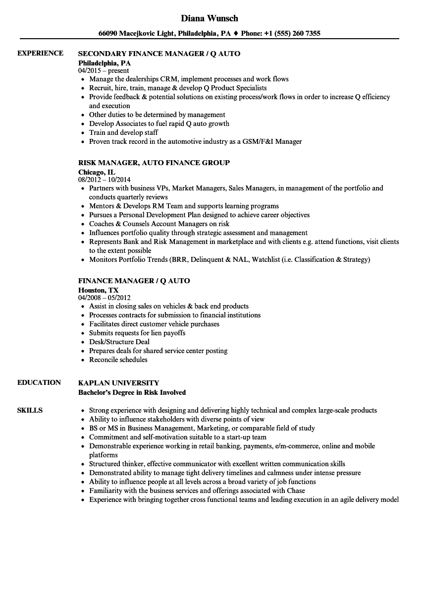 Automotive Finance Manager Cover Letter - Cover Letter Resume Ideas ...