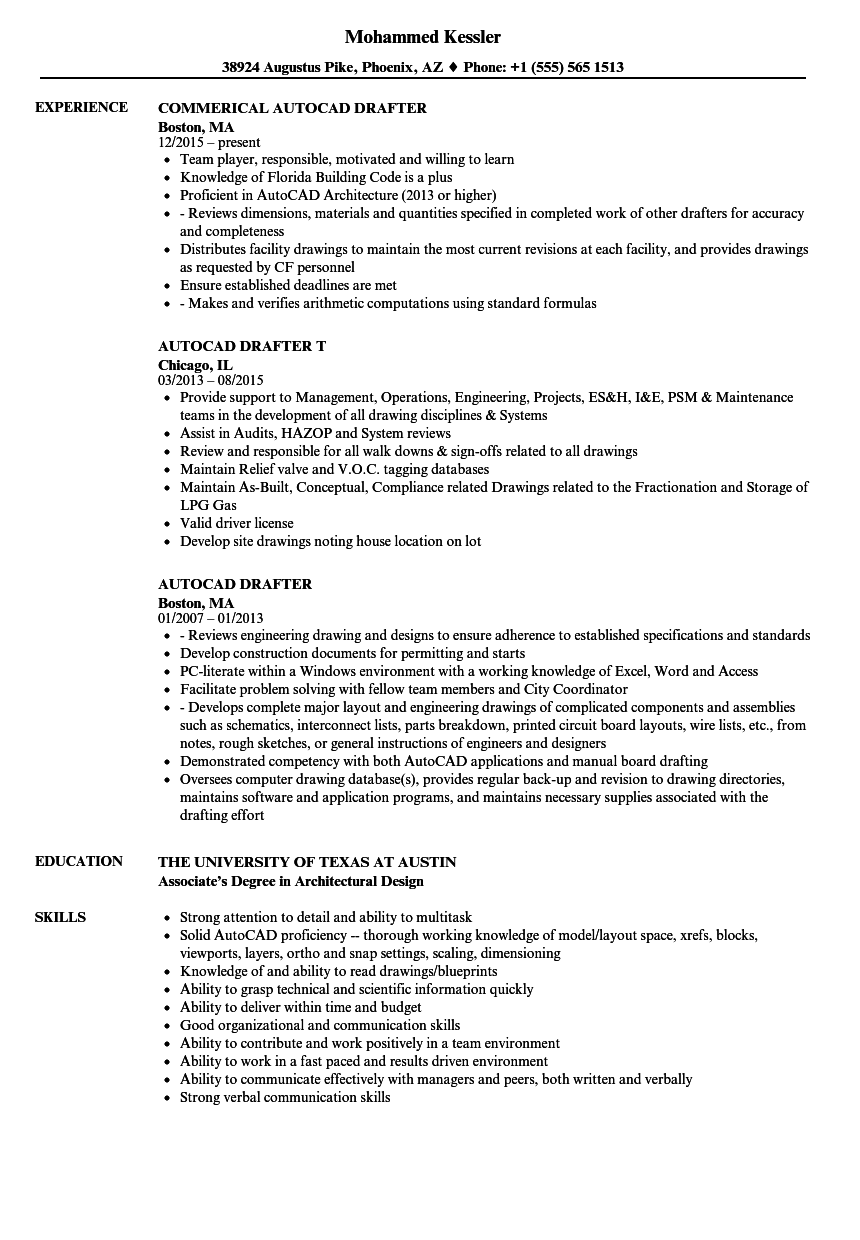 sample resume of architectural drafter
