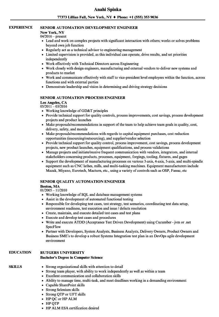 Automation Engineer Senior Resume Samples Velvet Jobs