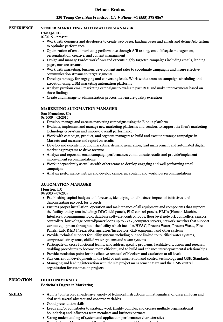 sample resume for automation manager