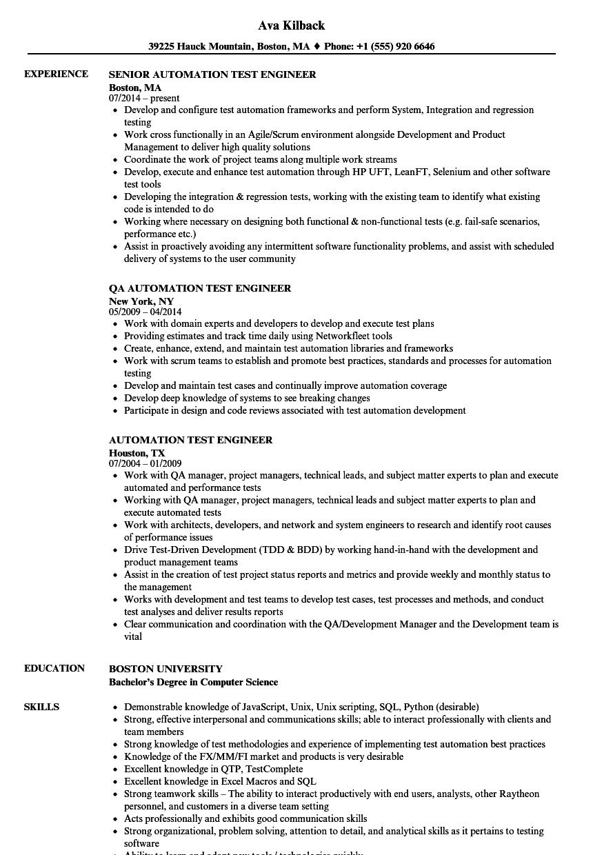 Performance Testing Resume
