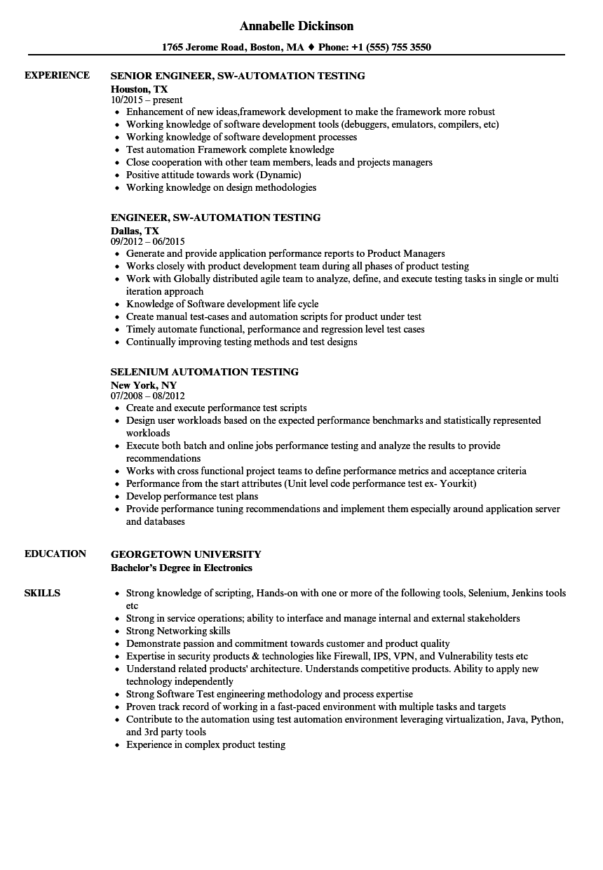 protractor testing resume examples