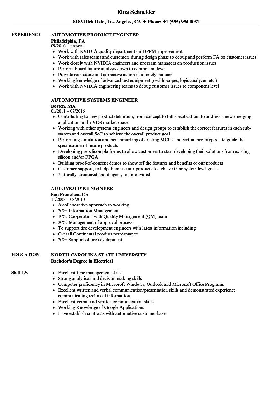 Automotive Engineer Sample Resume