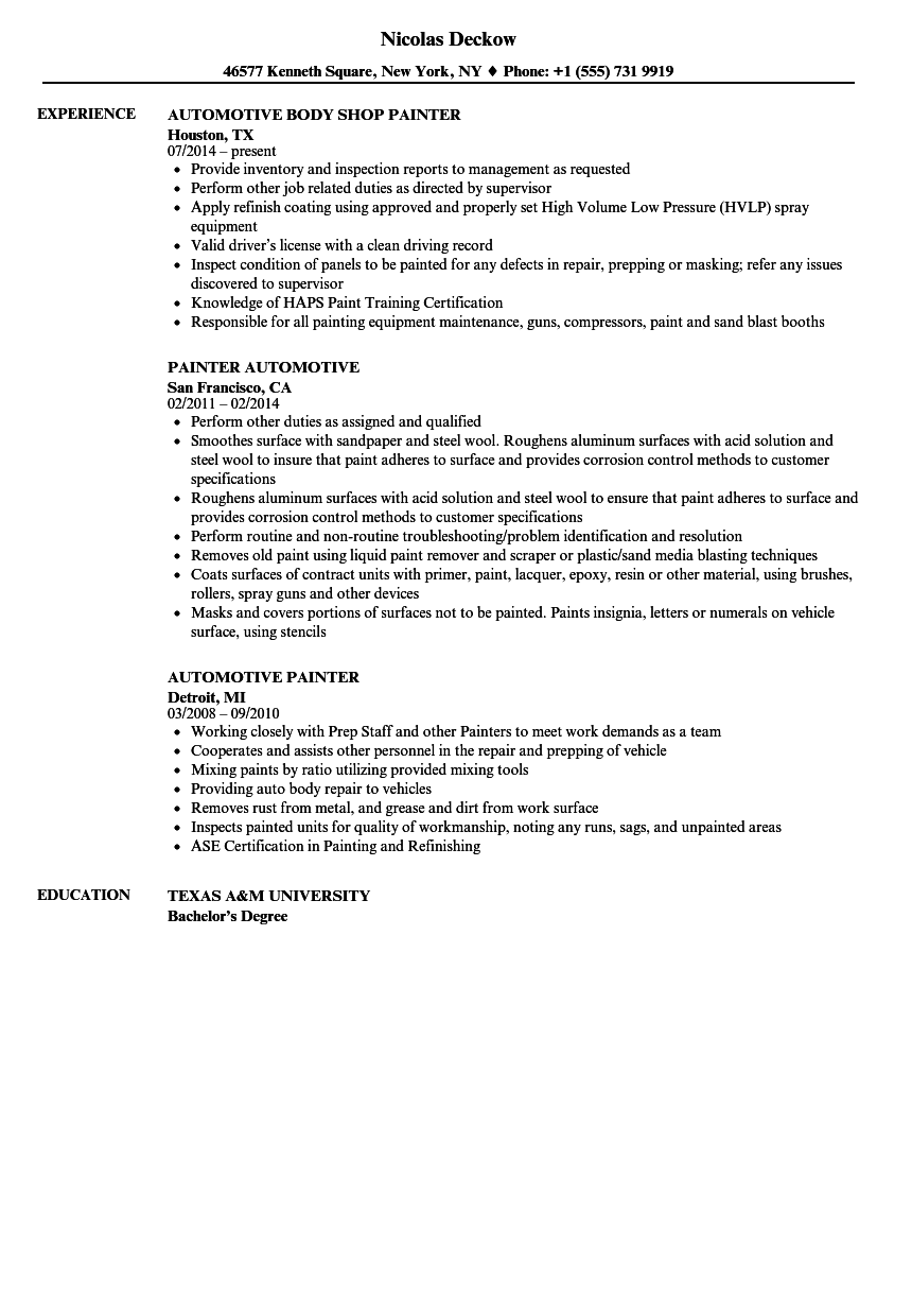 Automotive Painter Resume Samples Velvet Jobs