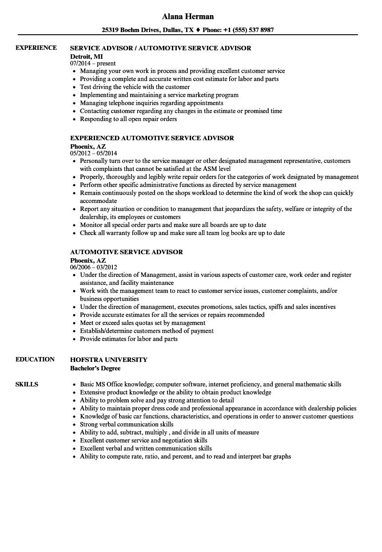 Car Service Advisor Resume  Automotive Service Advisor Resume