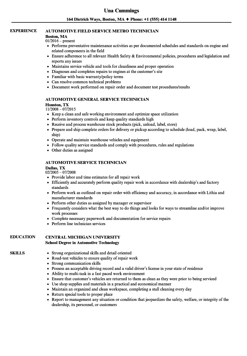 Automotive Service Technician Resume Samples  Velvet Jobs