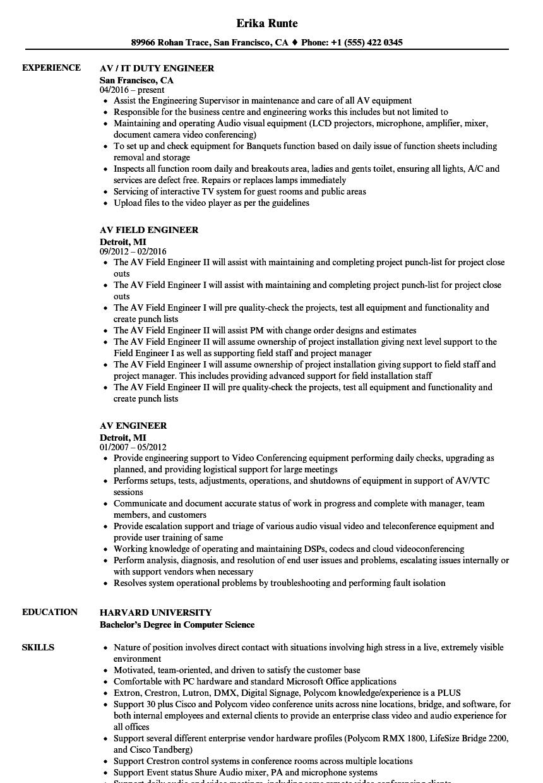 av technician resume