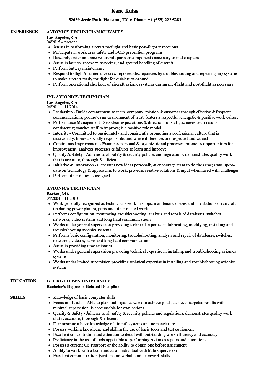 Avionics Technician Resume Samples Velvet Jobs