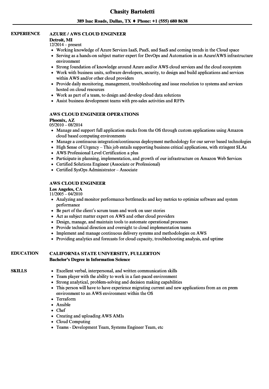 resume with aws experience