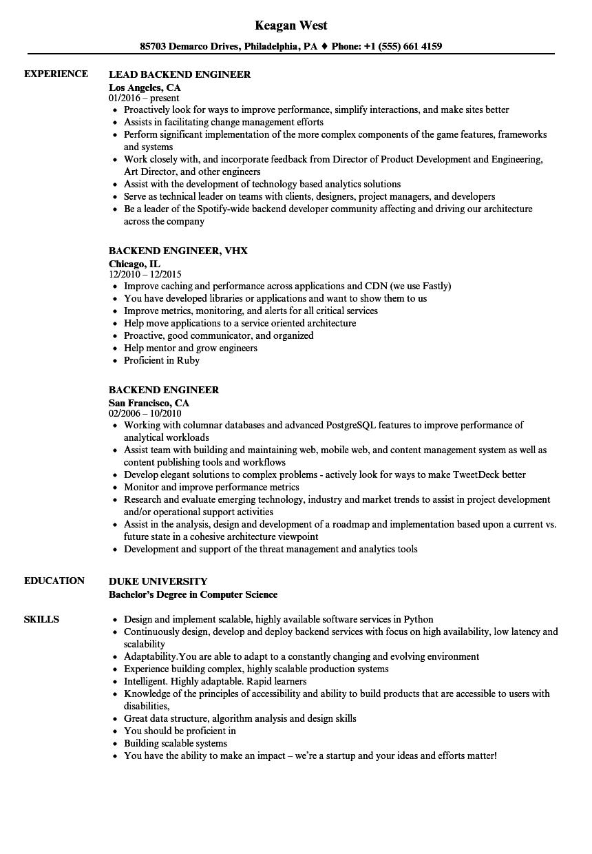 Download Backend Engineer Resume Sample As Image File
