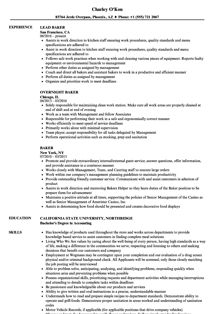 cv for a cook template