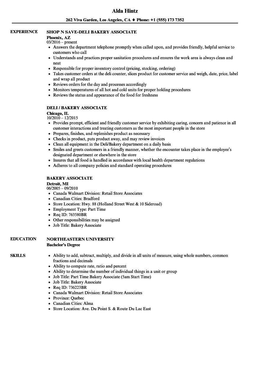 Bakery Associate Resume Samples Velvet Jobs