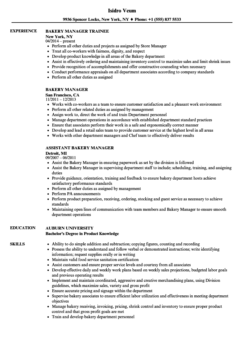 resume examples for bakery manager