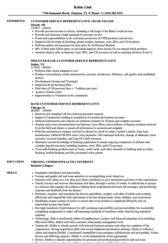 sample resume for customer service representative bank