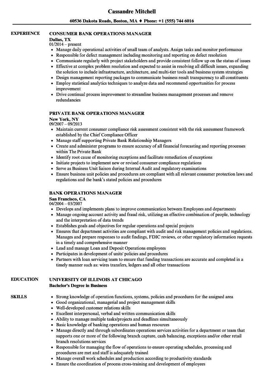 bank operations supervisor resume sample