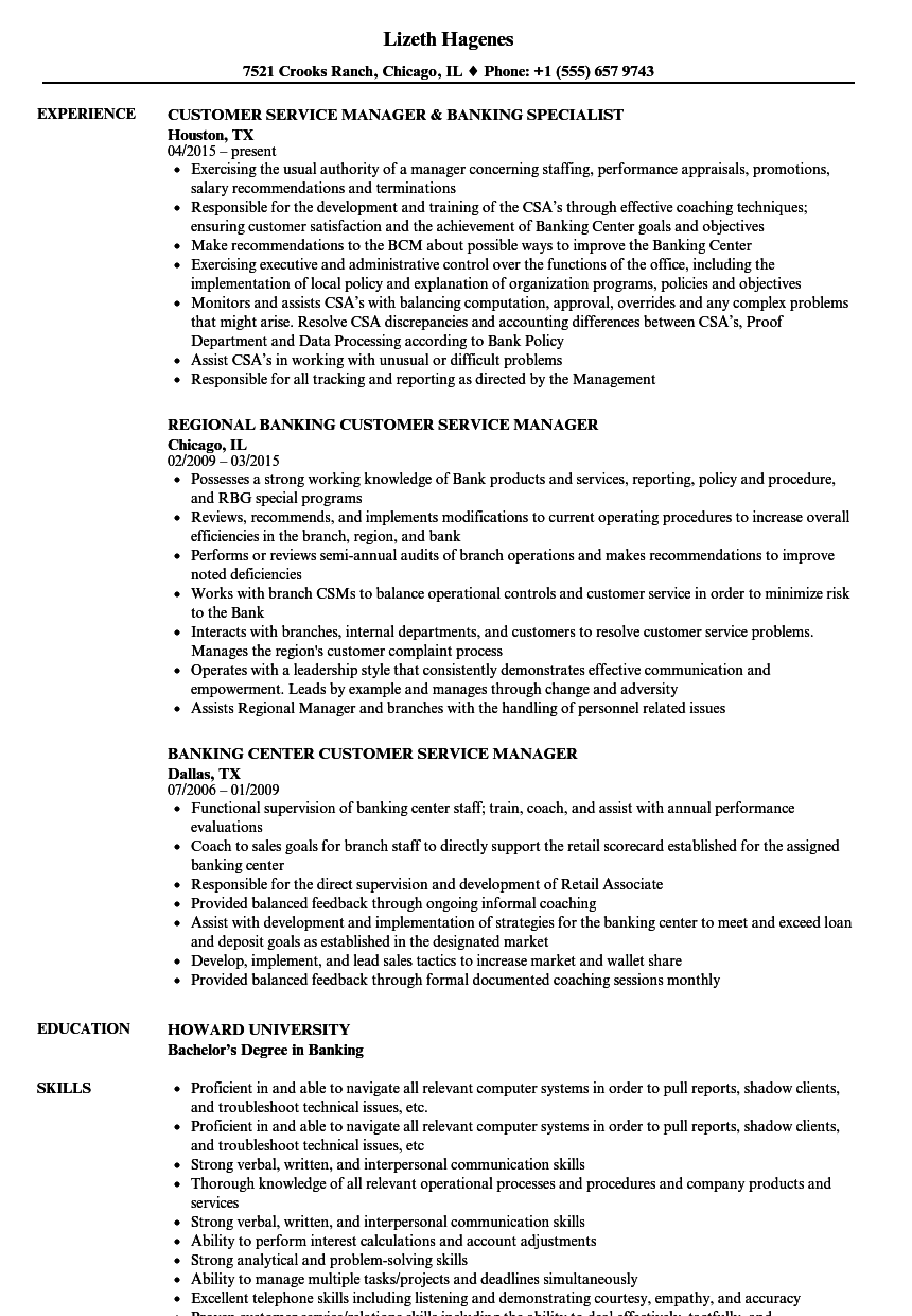 online banking resume samples