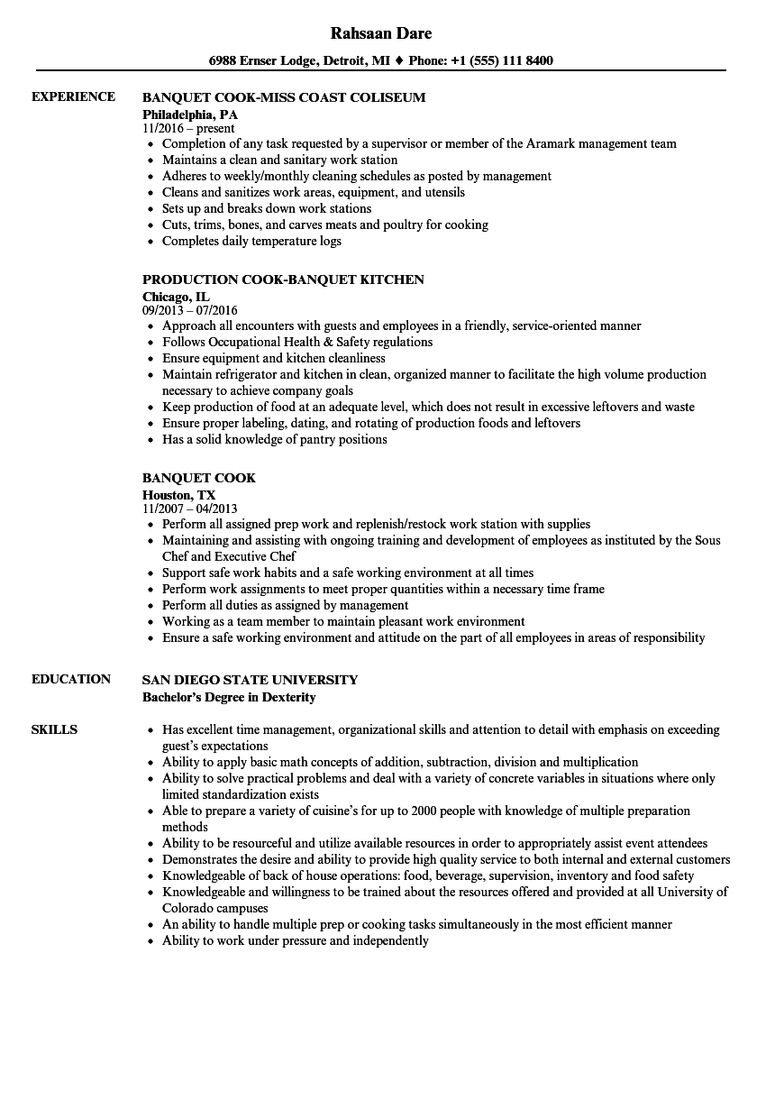 Banquet Cook Resume Samples | Velvet Jobs