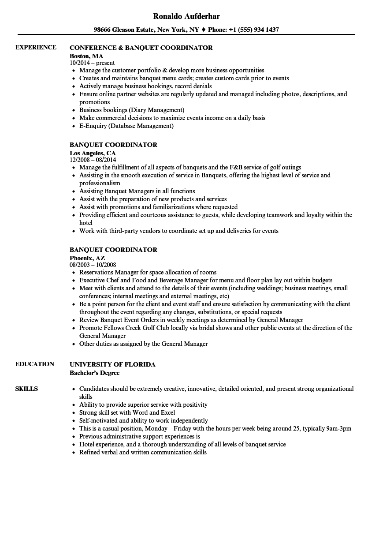 banquet coordinator resume sample