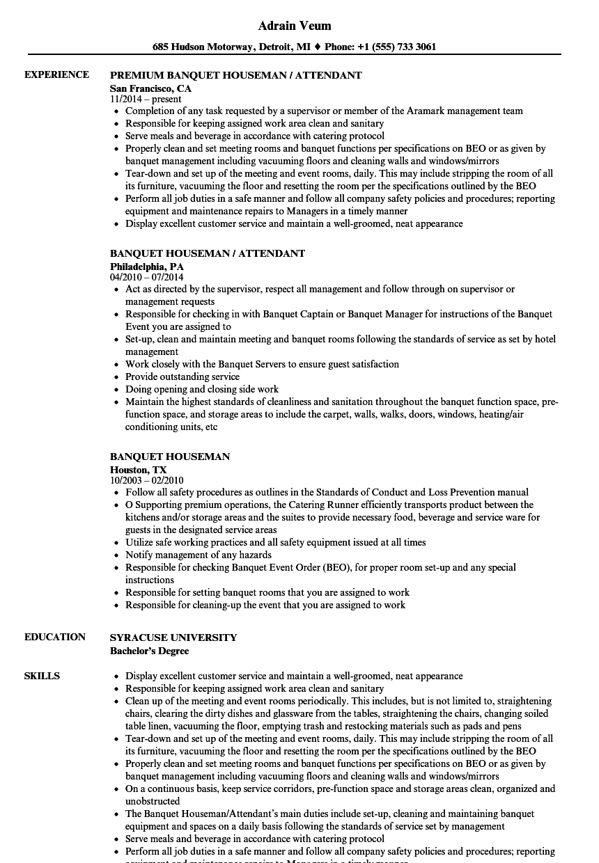 Banquet Houseman Resume Samples  Velvet Jobs