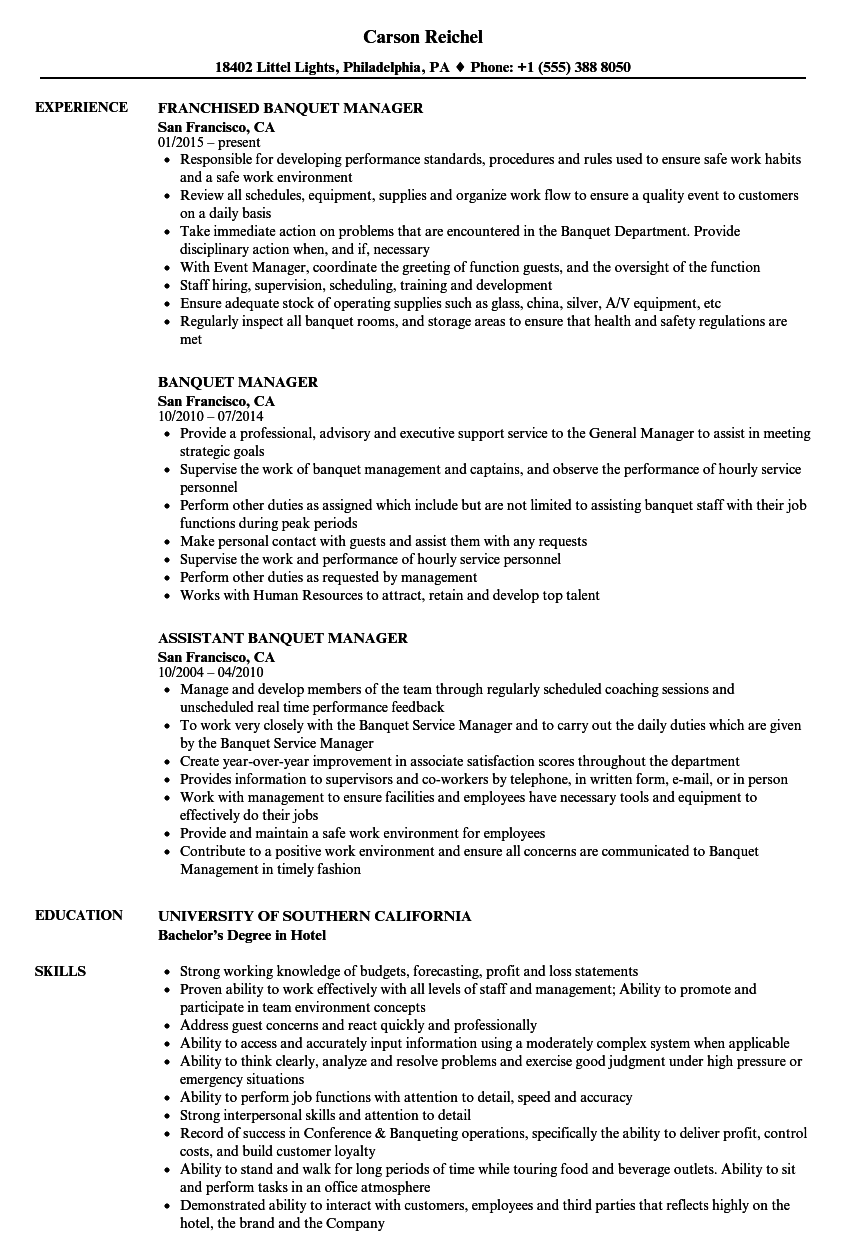 Banquet Manager Resume Samples Velvet Jobs