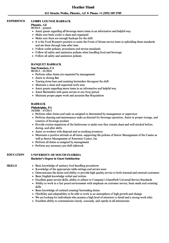 Download Barback Resume Sample As Image File