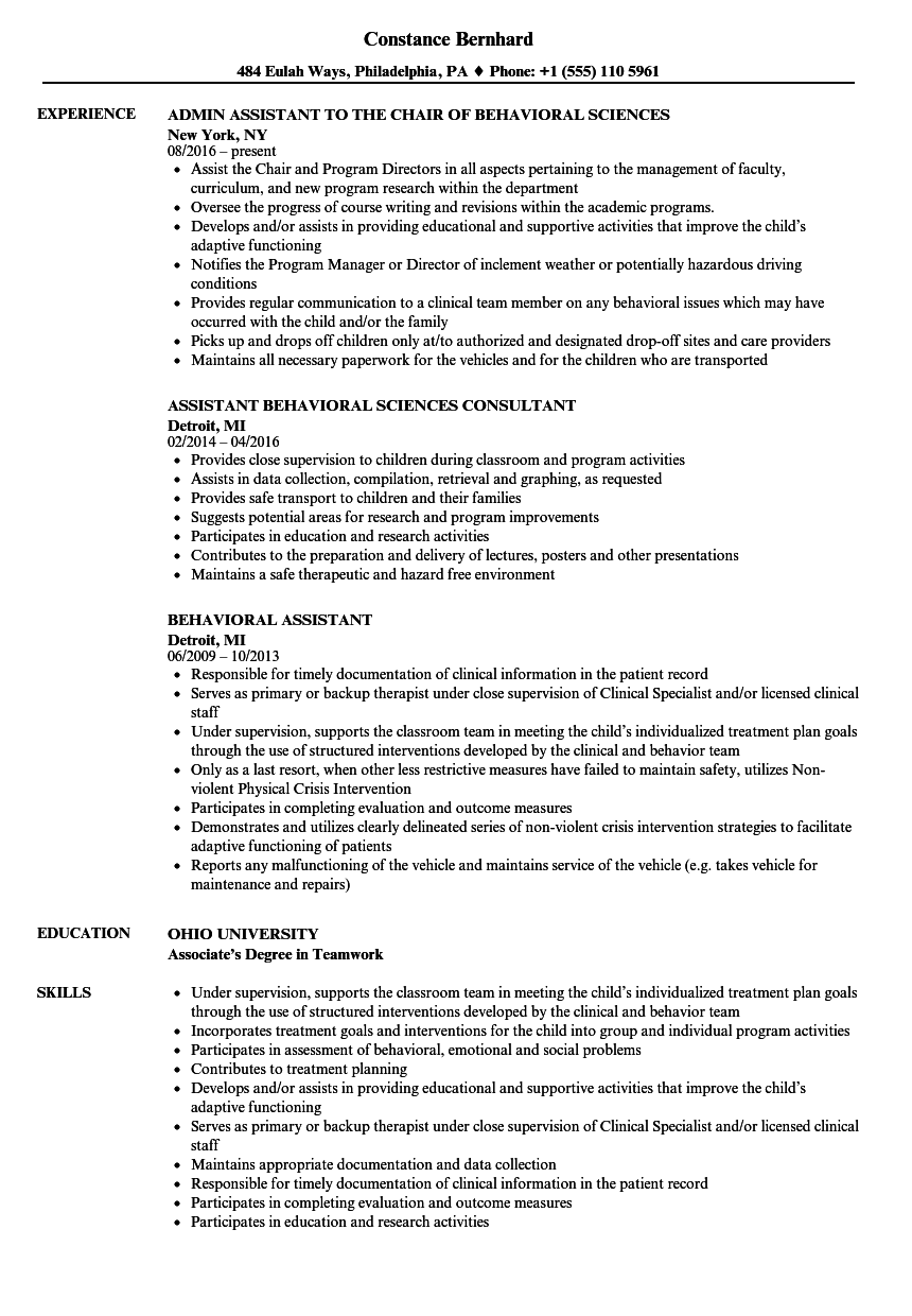 Behavioral Assistant Resume Samples Velvet Jobs