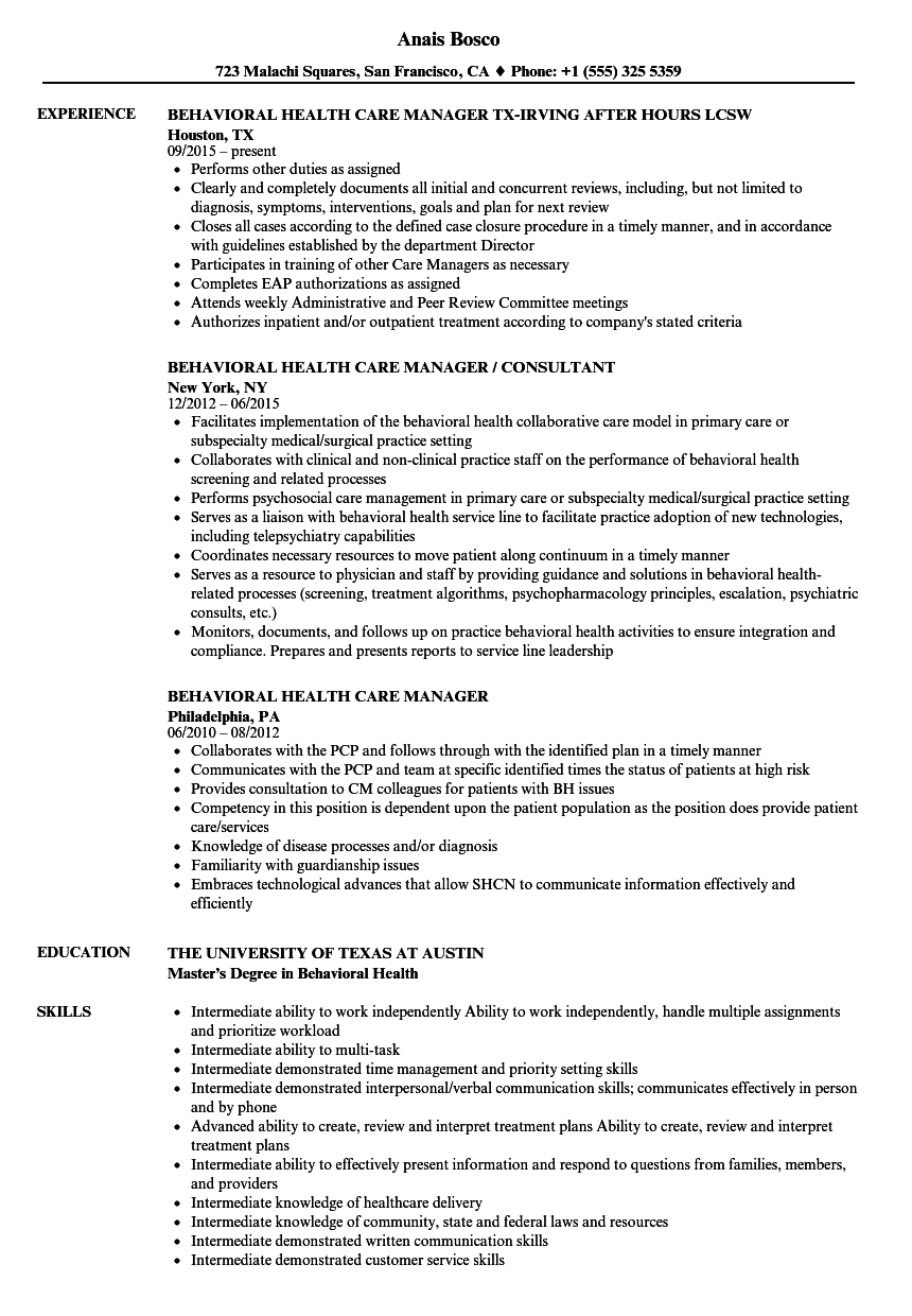 behavioral health case manager resume sample