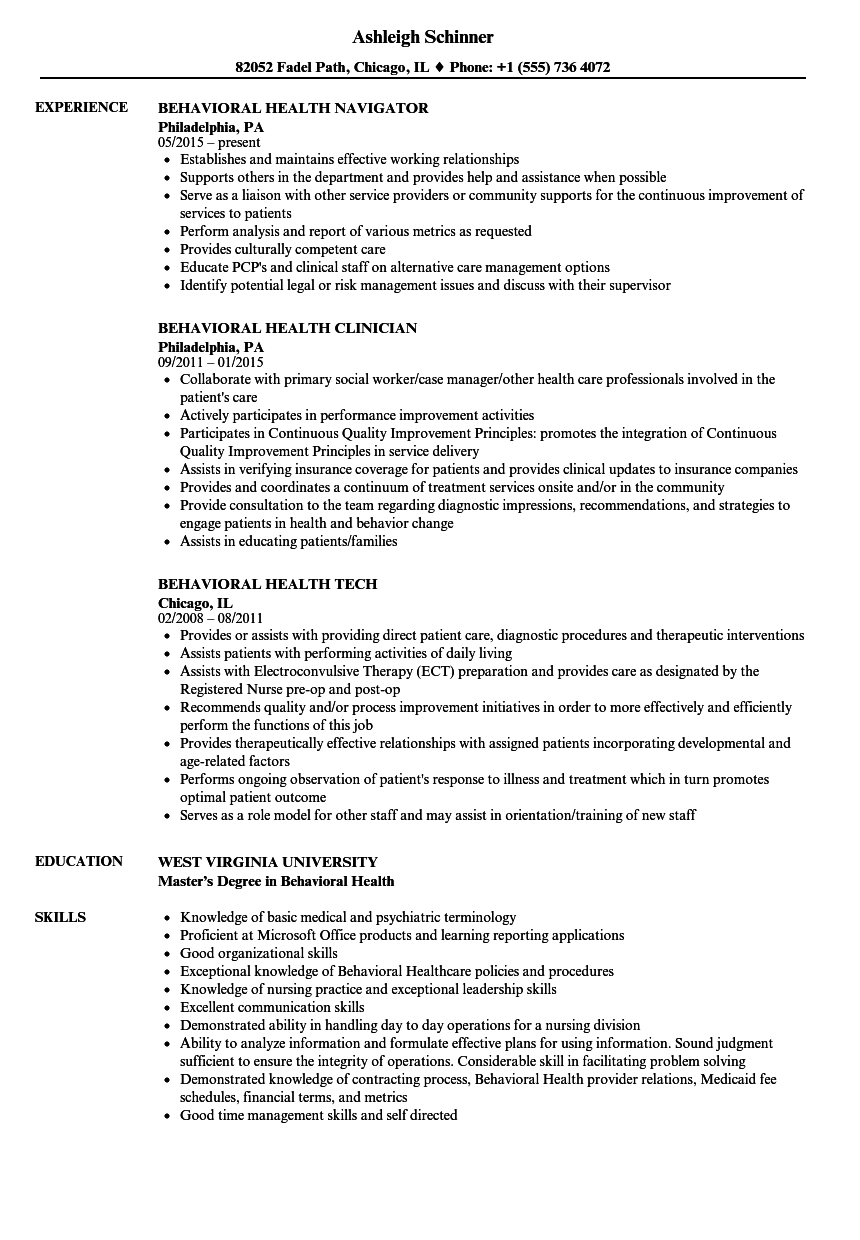 behavioral health therapist resume example