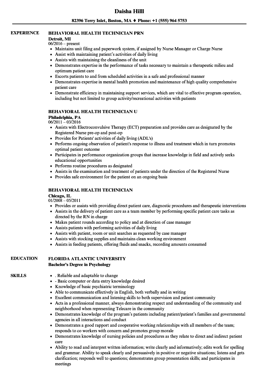 Behavioral Health Technician Resume Samples  Velvet Jobs