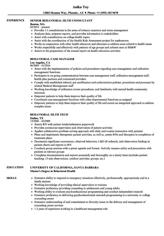 bcba resume sample