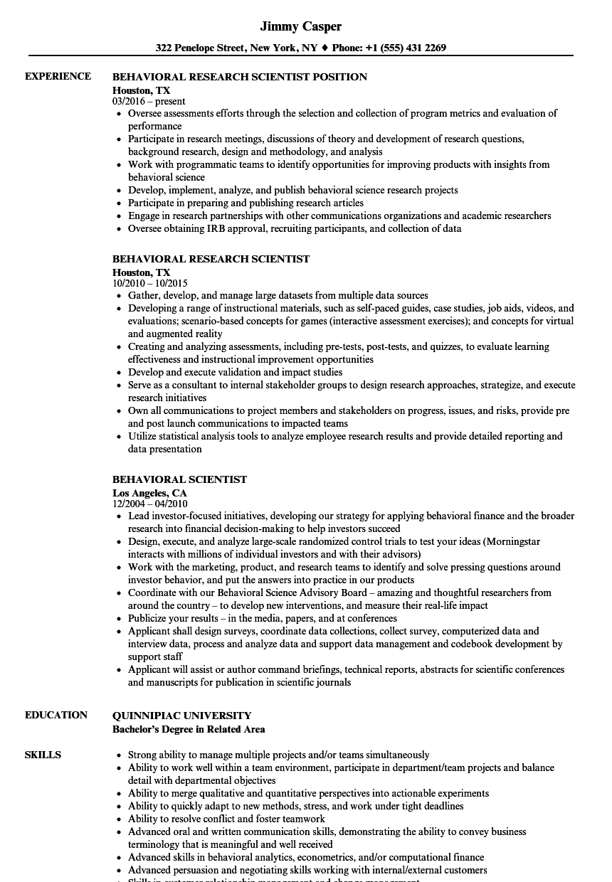 Behavioral Scientist Resume Samples Velvet Jobs