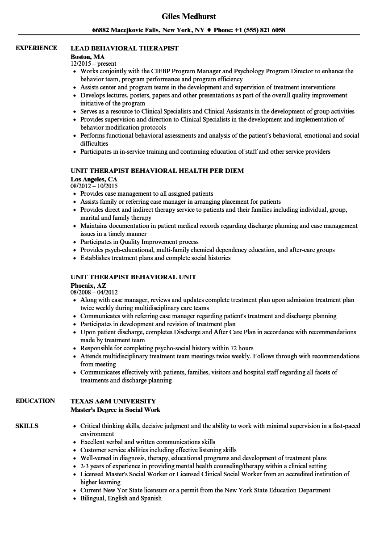 sample resume behavioral health