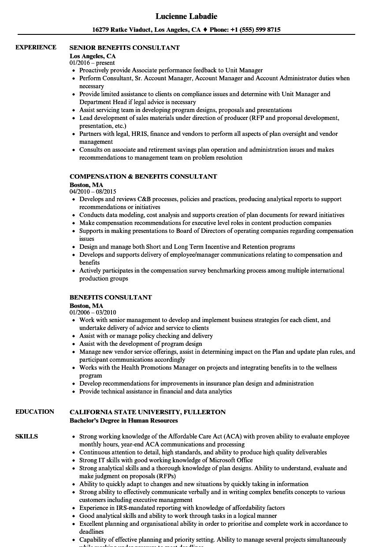 Benefits Consultant Resume Samples  Velvet Jobs