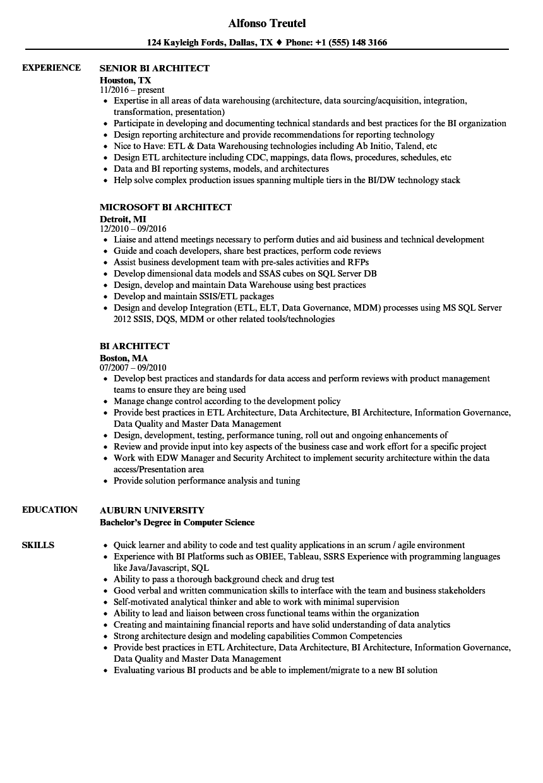 sample resume of java architect