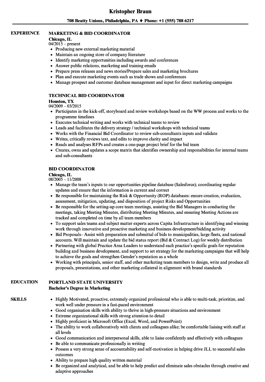Bid Coordinator Resume Samples Velvet Jobs